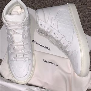 Balenciaga  Embossed Leather High Top Sneakers 7.5